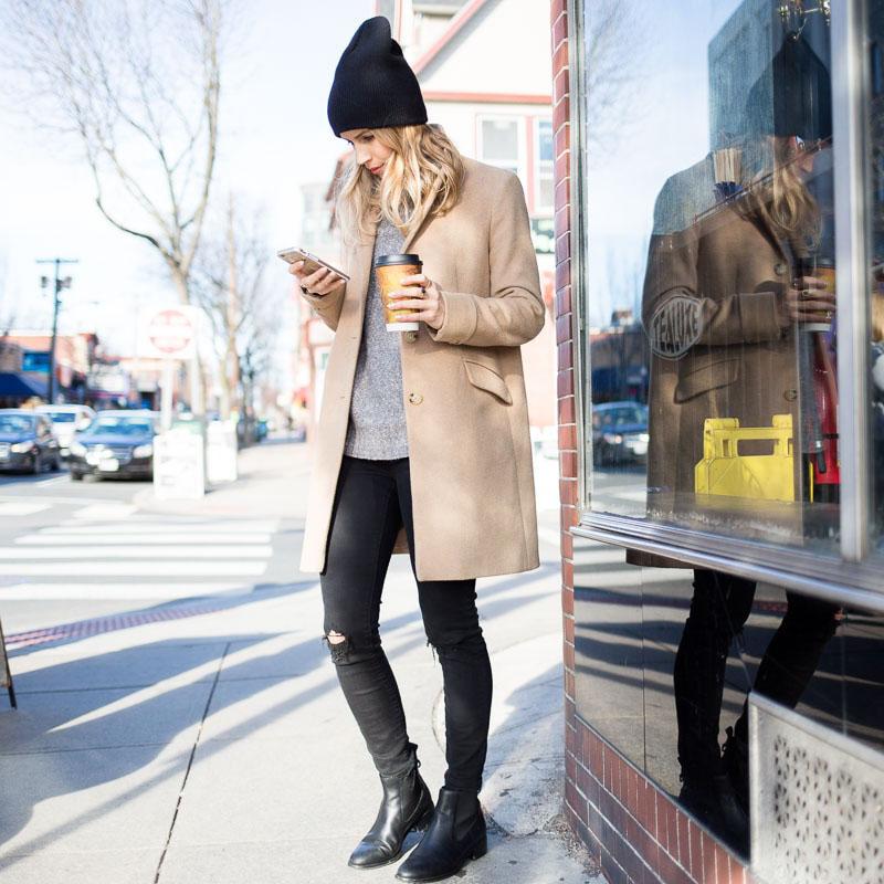 Coat: Ralph Lauren   Beanie: Urban Outfitters   Sweater: H&M, Similar   Boots: Cole Haan   Jeans: J. Crew, Similar