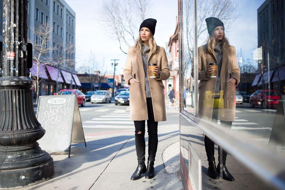 Coffee Shop Black Beanie Camel Coat Style