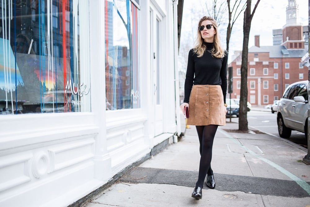 a-line suede skirt, turtleneck, and loafers streetstylelook