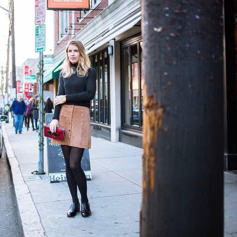 Loafers: Yosi Samra  Turtleneck: Zara, Similar  Skirt: Topshop (Sold Out), Similar   Sunglasses: Ray-Ban  Watch: Nixon