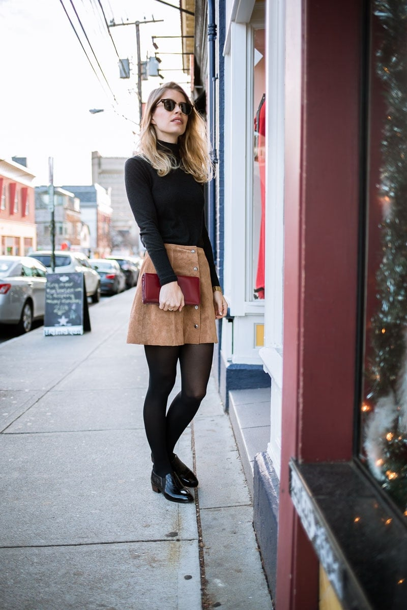 a-line suede skirt, turtleneck, and ray-ban's