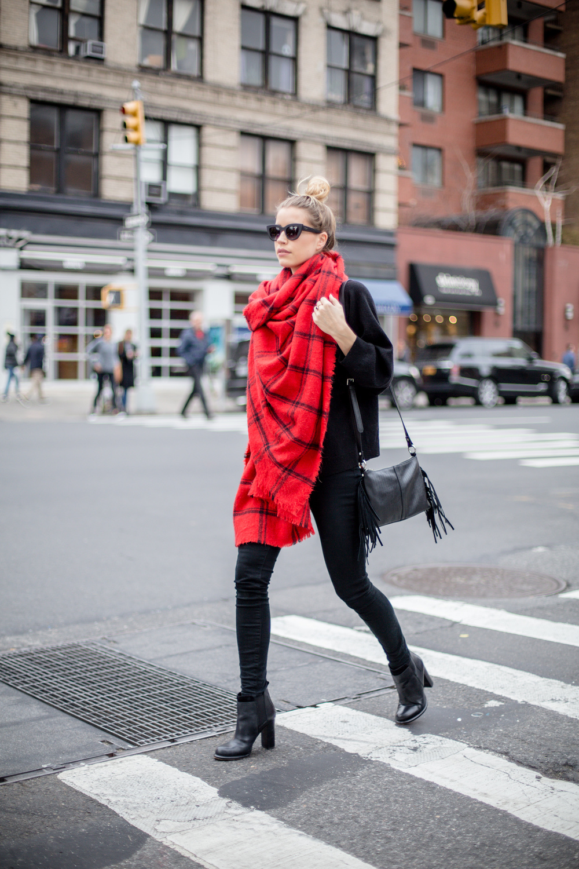 Scarf: Zara, (Similar)   Sweater: J.Crew (Similar)   Booties: Sam Edelman   Sunglasses: Quay  Bag: French Connection