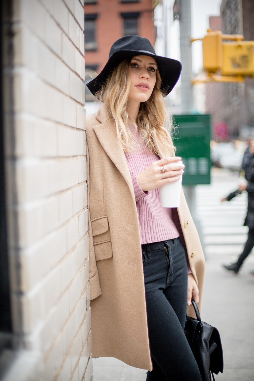 "Sweater: Madewell, Similar | Jacket: Ralph Lauren | Bag: Rag&Bone | Hat: Urban Outfitters | Lipstick: Mac in ""Velvet Teddy"""