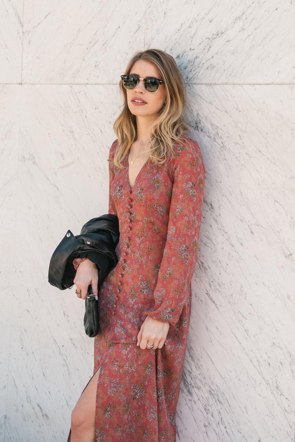 Maxi Dress with Leather Jacket