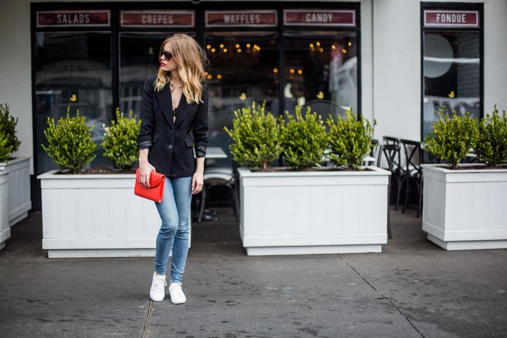 Blazer: Ann Taylor, Similar | Jeans: Joe's | Sneakers: Zara, Similar | Bag: Lauren Cecchi | Choker: Capwell+C0 | Drop Necklace: Lydell NYC, Similar| Lipstick: Ice + Jam