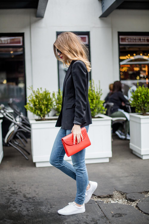 black blazer with white sneakers