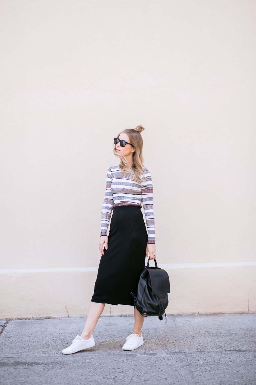 Shirt: Elizabeth and James | Skirt: Aritzia| Sneakers: Zara | Necklace: Capwell&Co(sold out),Similar| Bag: Rag&Bone | Sunglasses: Karen Walker