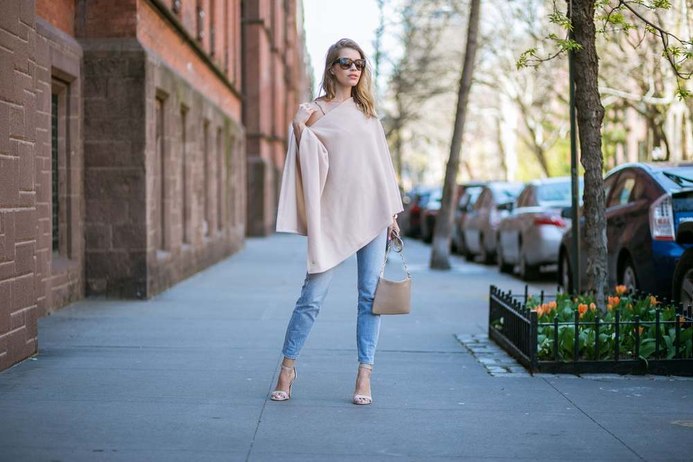 Poncho: Dudley Stephens | Jeans: Madewell | Bag: GiGi New York | Ring: Capwell+Co | Bracelet: Capwell+Co | Sunnies: Elizabeth and James, Similar | Shoes: Similar