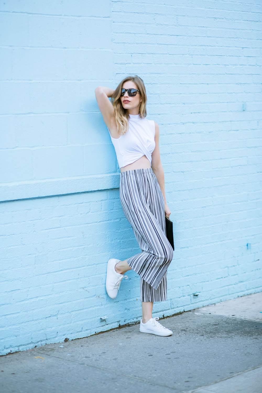 striped pants street style