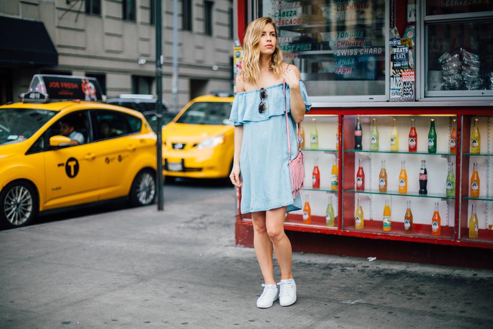 Dress: Zara, Similar | Bag: Rebecca Minkoff | Sneakers: Puma | Sunnies: Urban Outfitters