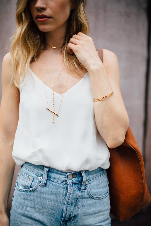 Jewels: Gorjana | Jeans: Madewell | Slides: Yosi Samra | Bag: Madewell| Cami: Aritzia, Similar