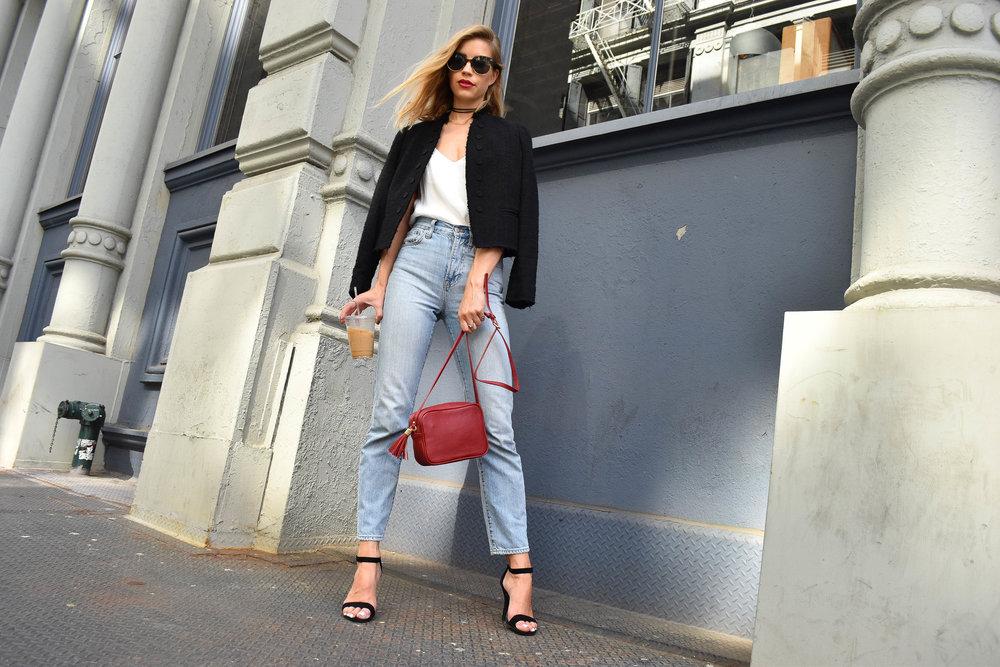 "Bag: GiGi New York | Jeans: Madewell | Jacket: Rebecca Taylor | Lipstick: Mac Liptensity in ""Life's Blood"""