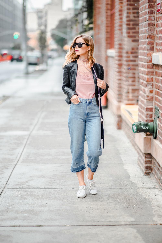 "Jeans | Cami | Jacket | Bag | Choker: Bauble Bar| Lipstick:MAC Liptensity in ""Medium Rare"""