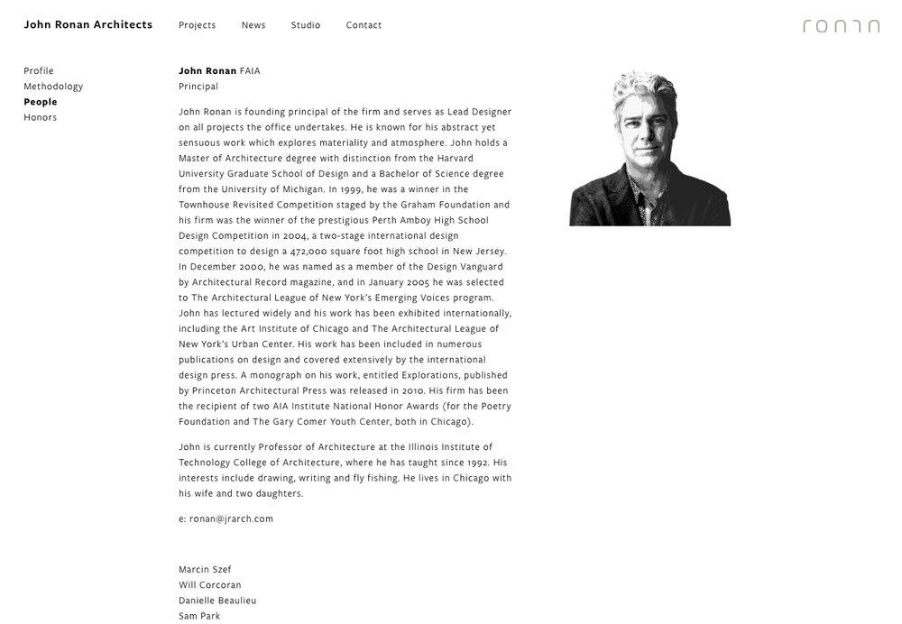 John Ronan Architects Bio Page