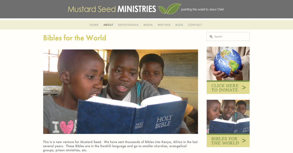 Mustard Seed Ministries Bibles for the World page