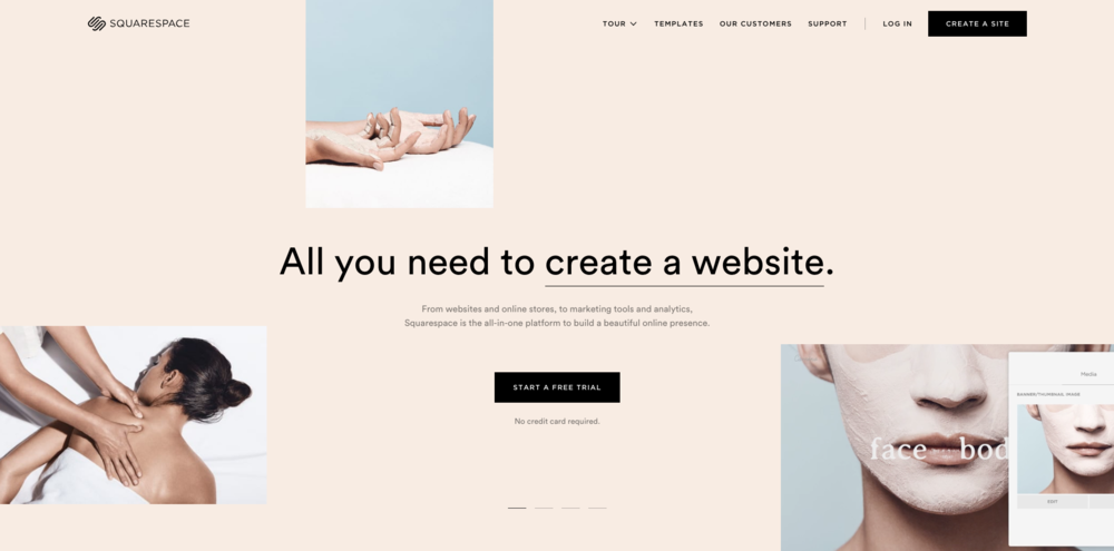 Image of Squarespace's website.