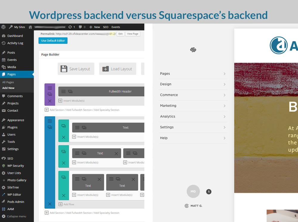 Wordpress backend versus Squarespace's backend