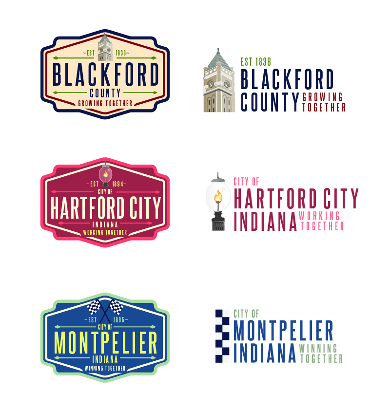 Blackford County, Hartford City, and Montpelier Primary Logos on the left and Secondary Logos on the right.