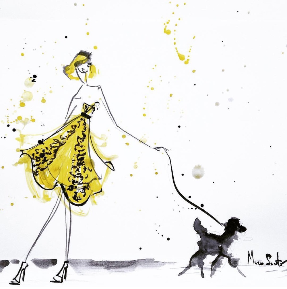 oscarprgirl: walking the dog, feat. a resort 16 dress. by Mary Saporito