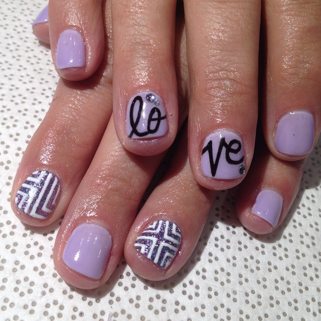 vanityprojectsnyc :     #LOVE #handpainted by @spifster #gelnail #nailart #VanityProjects #Vanityprojectsbridal  (at Vanity Projects)