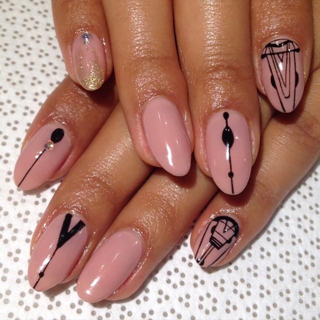 vanityprojectsnyc :     @spifster #handpainted #gelnail #nailart #nudenails #VanityProjects  (at Vanity Projects)