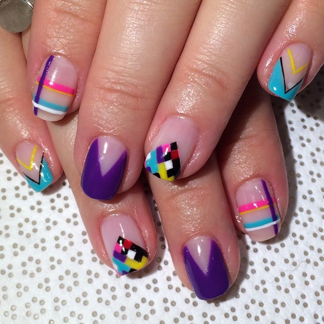 vanityprojectsnyc :     Fun bright #summernails #handpainted by @ohriginails #Gina #gelnail #nailart #VanityProjects  (at Vanity Projects)