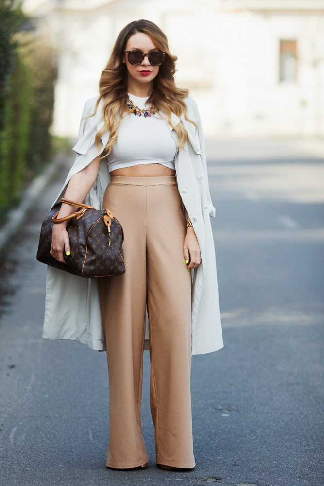 ecstasymodels :     Camel Palazzos   Coat: H&M / Top: NEW LOOK / Trousers: MISSGUIDED /  Bag: LOUIS VUITTON / Necklace: ZARA / Heels: TONY BIANCO /  Sunglasses: KAREN WALKER     Cashmere in Style