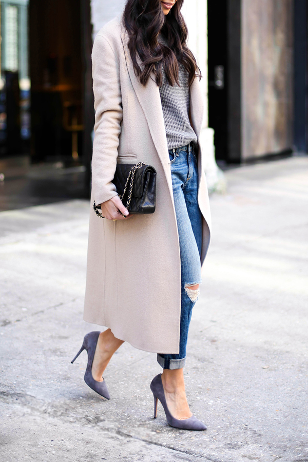 justthedesign :    Street Style February 2015 :  Kat Tanita  is wearing a coat from Sandro, grey sweater from J. Crew, jeans from Rag & Bone, shoes from Jean-Michel Cazabat and the bag is from Chanel