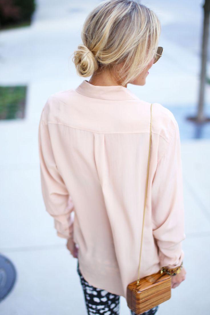 styledbykasey :   blush blouse + blonde bun