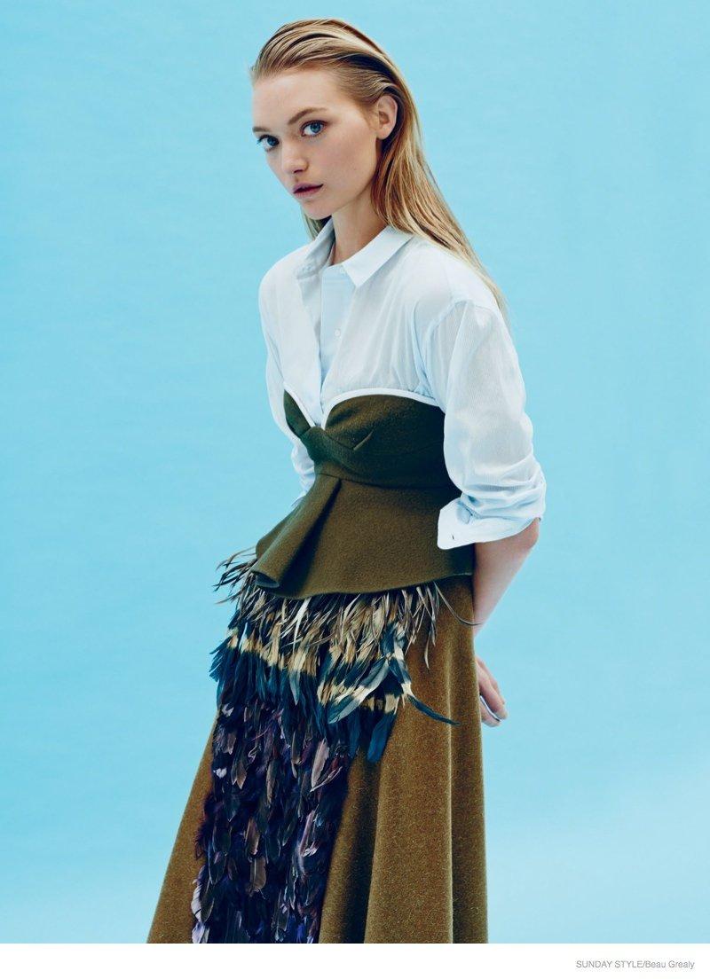 glamour :     Gemma Ward styled by Christine Centenera in  Sunday Style  *   Dressed