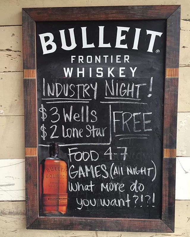 Industry night!! Complimentary food happy hour until 7pm! Free games and drink discounts all night!