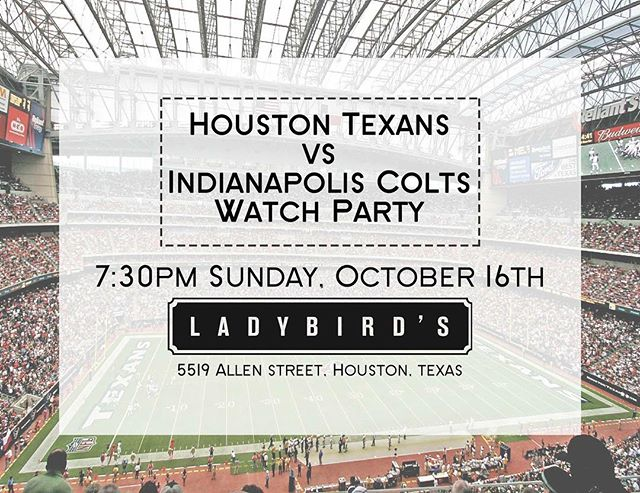 Happy Sunday! We'll be showing the Texans game today. We've also got $.75 wings and beer bucket specials for you. The Whistle Stop food truck is on-site!