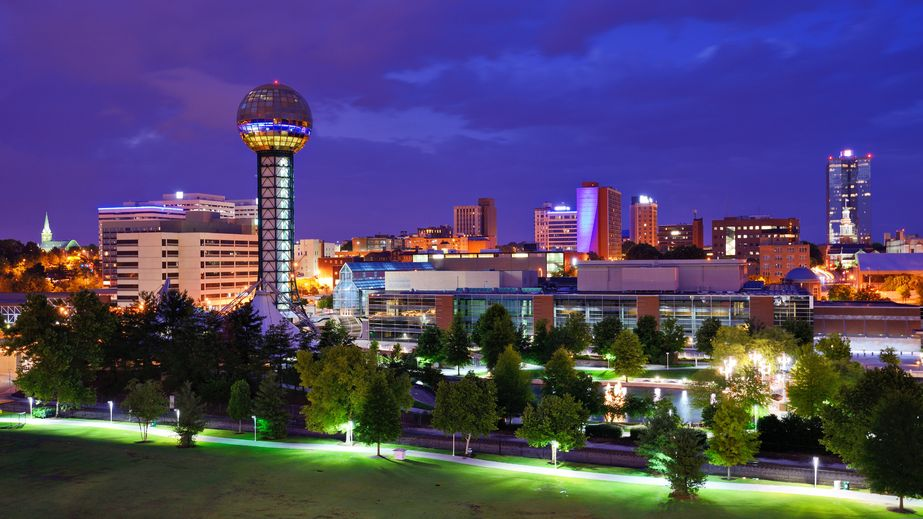 World's Fair Park and downtown skyline