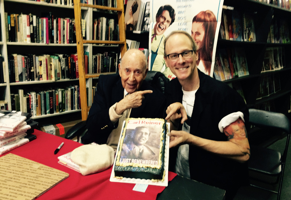 Jeff Mantor presenting Carl Reiner with a birthday cake for his 93rd B-Day!