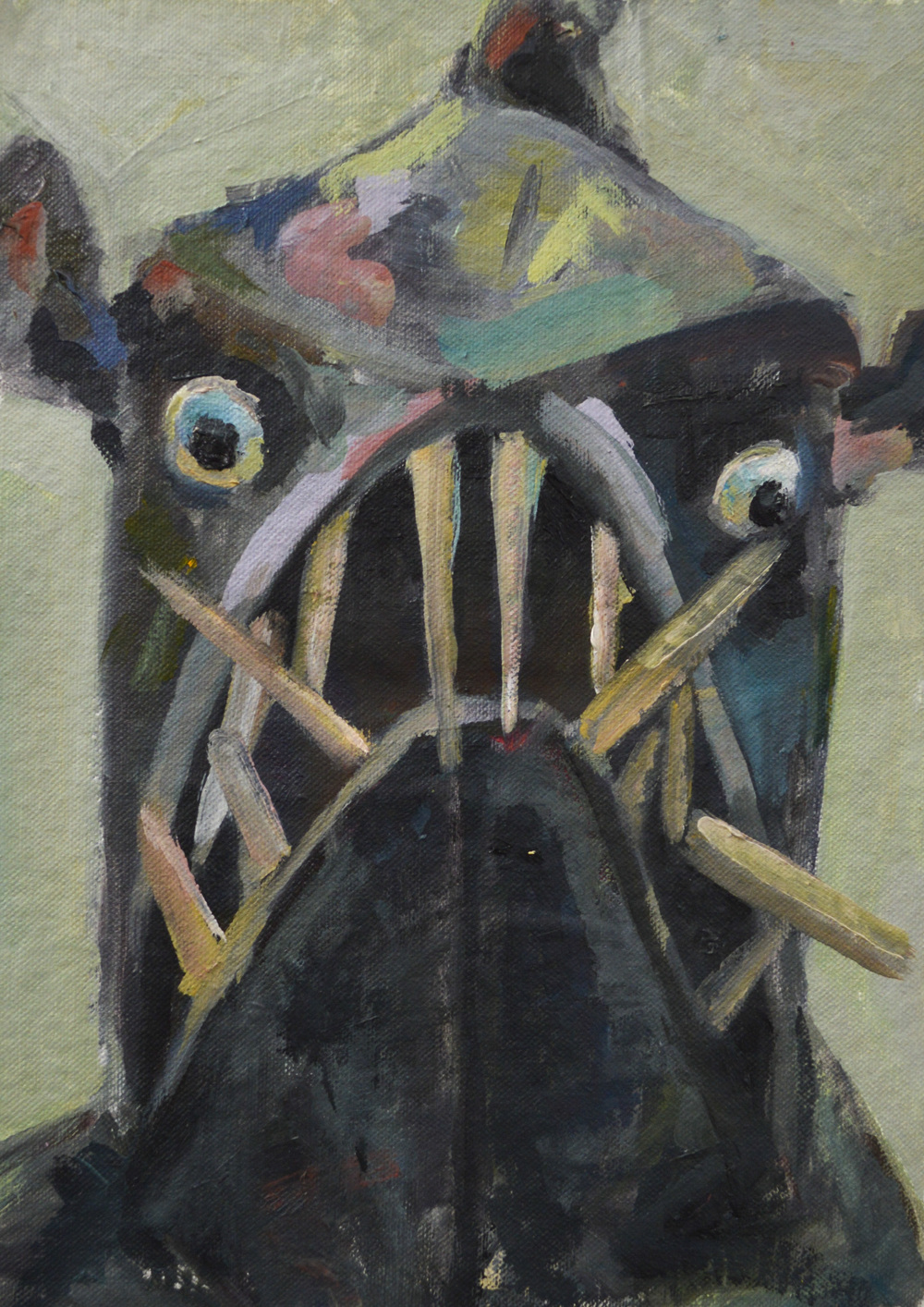 "Fish Mask , oil on canvas, 12"" x 9"", 2014"
