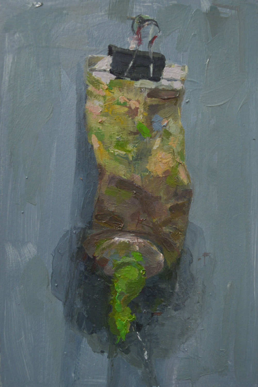 "permanent green light , oil on paper, 6"" x 4"", 2014"