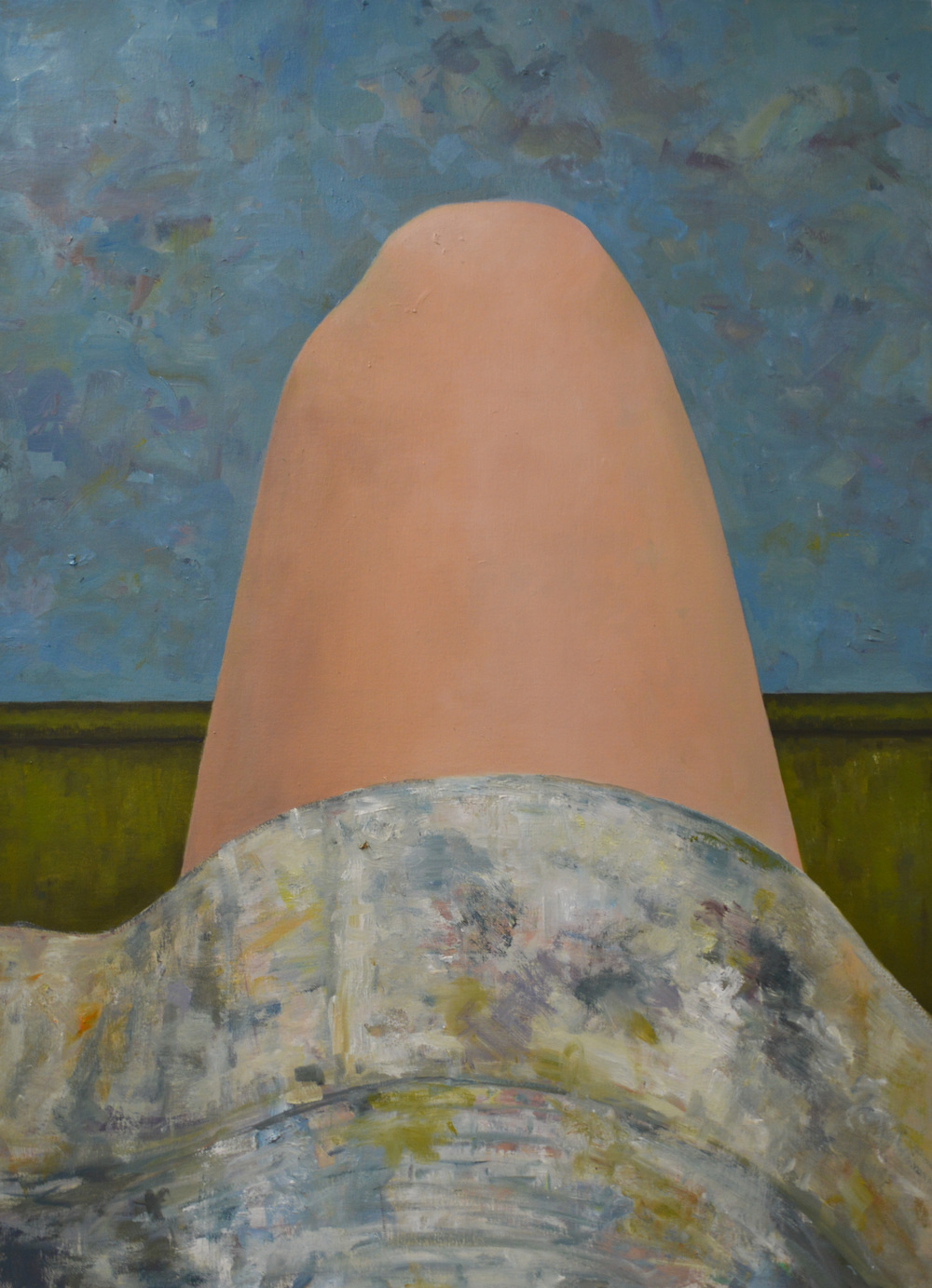"Thinking about figure ground while staring at my knee , oil on canvas, 30"" x 22"", 2014"