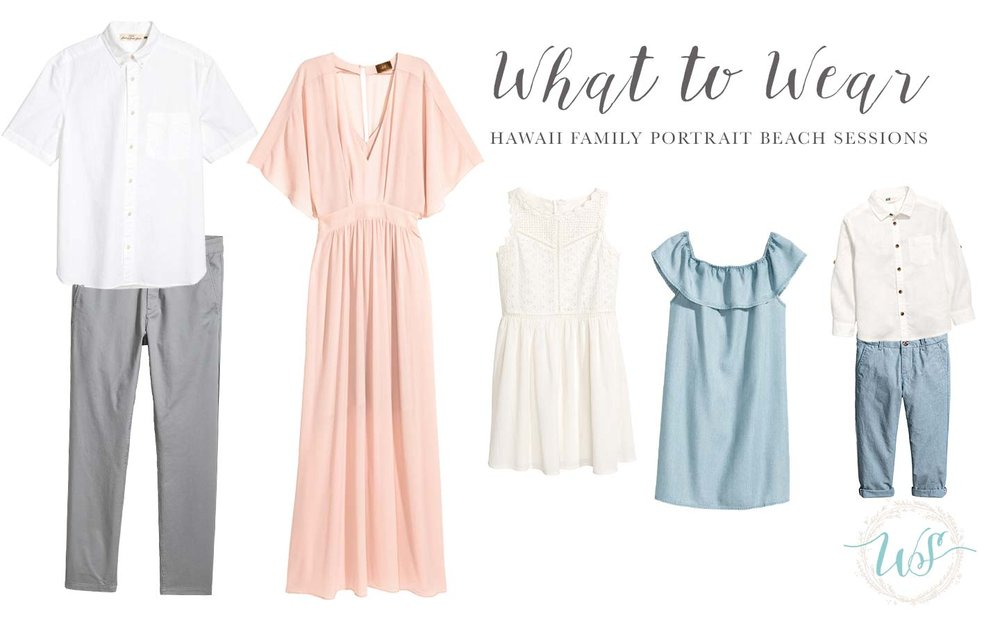 A beautiful long, flowy dress for mom is a classic choice. The blush color set against the pinks and blues from the sunset is a nearly guaranteed perfect look. Dress dad and kids in complimentary neutral colors, leaning towards solid colors to keep everything perfectly coordinated. Remember to accessorize with jewelry, belts, hair bows and other personal touches.