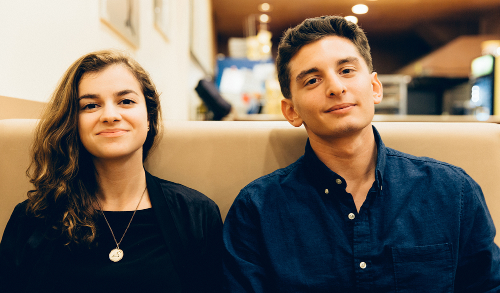 Maya Rafie, a photographer and Emerson College senior, and Zac DelVecchio, an instrument repair freelancer, consultant, and fifth-semester Berklee student. Rafie and DelVecchio co-founded the college freelance marketplace Bistara in 2014.