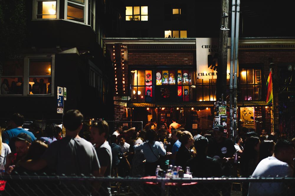 The street scene outside the Cha Cha