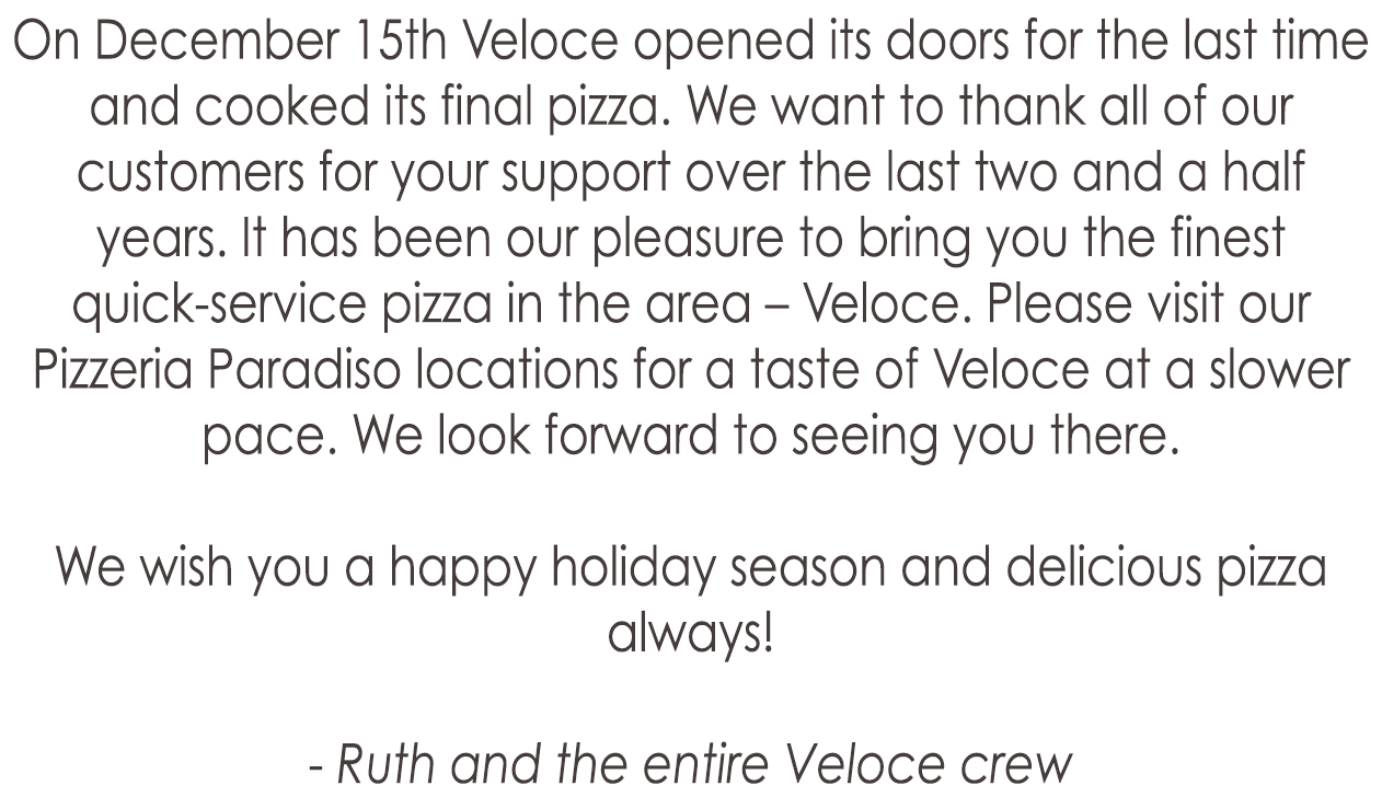 VELOCE [CLOSED PERMANENTLY]