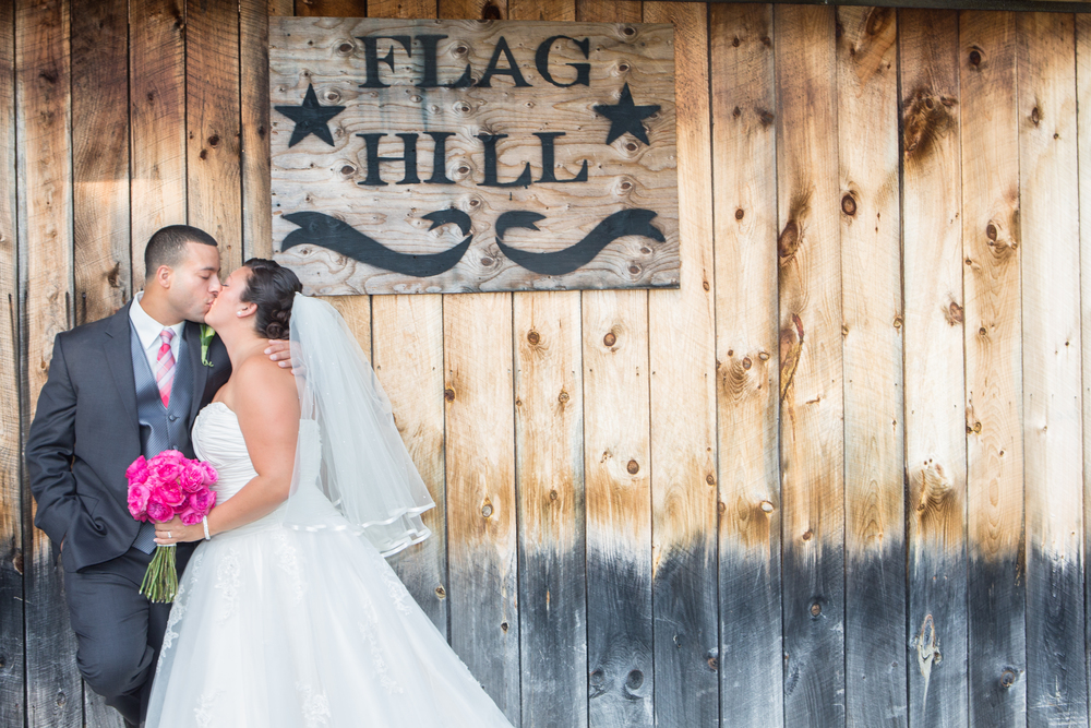 wedding flag hill nh kiss.jpg