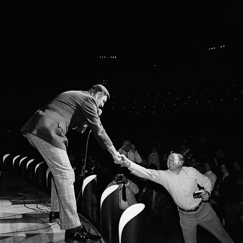 Archie Campell Greeting a Fan, Grand Ole Opry, Nashville, TN, 1972