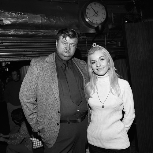 Stella Parton with Manager, Ryman Auditorium, Nashville, TN, 1972