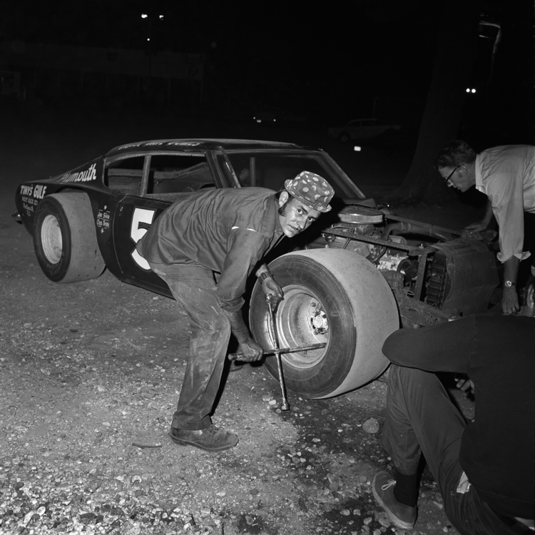 Changing Tire, Thompson Speedway, Thompson, CT, 1972