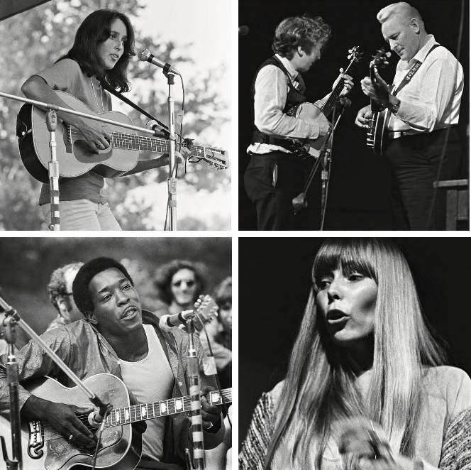 Folkies all, 1968. Clockwise from top left: Joan Baez at Boston Public Garden • John Cohen and Don Reno at the University of Chicago Folk Festival • Joni Mitchell at the Philadelphia Folk Festival • Buddy Guy at the Philadelphia Folk Festival