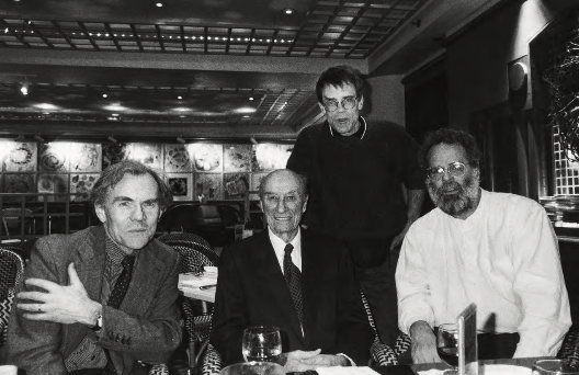 Harry Callahan with photographers and teachers. Surrounding Harry are (left to right): Emmet Gowin (Princeton University), Jim Dow (School of the Museum of Fine Arts, Boston, and Tufts University), and John McWilliams (Georgia State University), 1996.