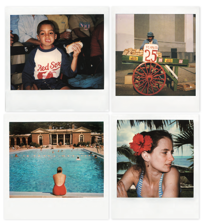 Clockwise from top left : Working for Polaroid gave me a good salary and expense account. I shot kids at Fenway Park • A peanut vendor there, too • Ellie in Mexico somewhere • Mary Lynn in Saratoga Springs