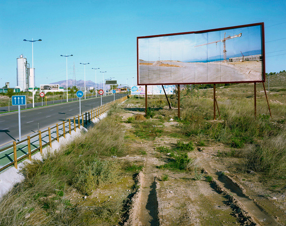 Port Tanger Med, Morocco, placed in highway leading to retail park, Murcia, Spain.  Imported Landscapes , 2010.
