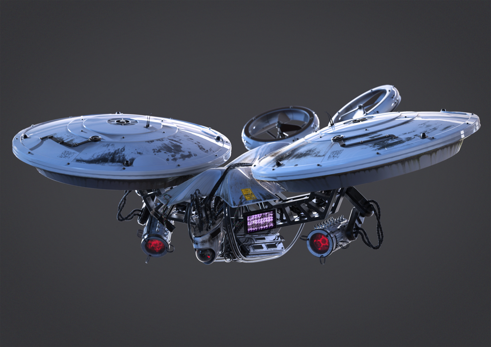 quick concept of a surveillance drone I made during four days of a ...